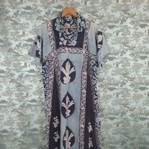 Vintage 60s India cotton caftan dress